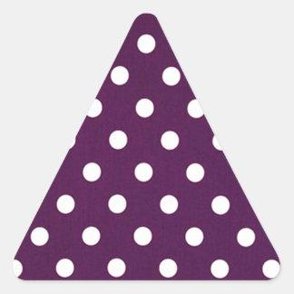 Sticker Triangulaire Pois blanc sur le pourpre foncé