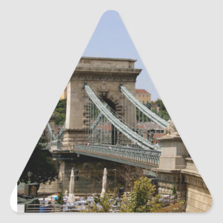 Sticker Triangulaire Pont à chaînes de Széchenyi, Budapest, Hongrie