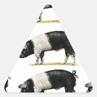 Sticker Triangulaire porcs dans une rangée