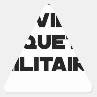 Sticker Triangulaire REQUÊTE CIVILE, ROQUETTE MILITAIRE - Jeux de mots