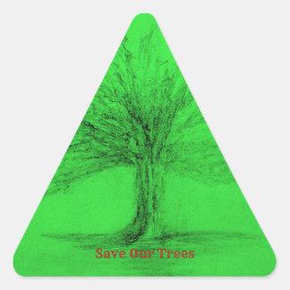 Sticker Triangulaire Sauvez nos arbres