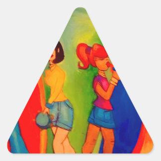 Sticker Triangulaire Session de confiture de bande de fille