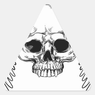 Sticker Triangulaire Style vintage à ailes de gravure sur bois en crâne