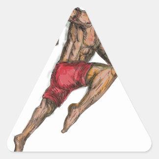 Sticker Triangulaire Tatouage thaïlandais de combattant de boxe de Muay