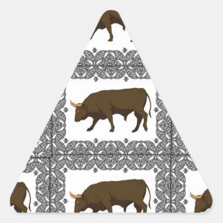 Sticker Triangulaire taureaux bruns jointifs