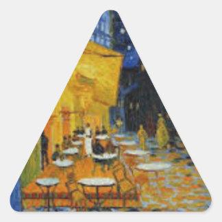 Sticker Triangulaire Terrasse de Café le nuit de Vincent Van Gogh
