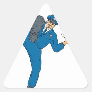 Sticker Triangulaire Torche de lampe-torche d'arme à feu de policier