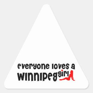 Sticker Triangulaire Tout le monde aime une fille de Winnipeg