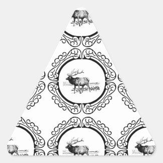 Sticker Triangulaire troupeau d'élans dans le groupe