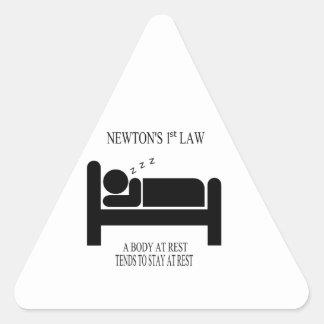 Sticker Triangulaire Un corps tend au repos à rester au repos la loi de