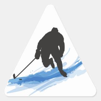 Sticker Triangulaire Un joueur de hockey sur la glace