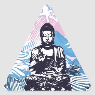 Sticker Triangulaire Vague de montagne tropicale de Bouddha