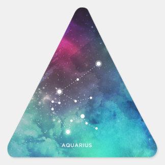 Sticker Triangulaire Verseau bleu rouge élégant de nébuleuse