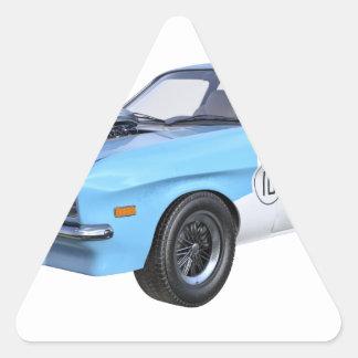 Sticker Triangulaire voiture de muscle des années 70 dans bleu et blanc