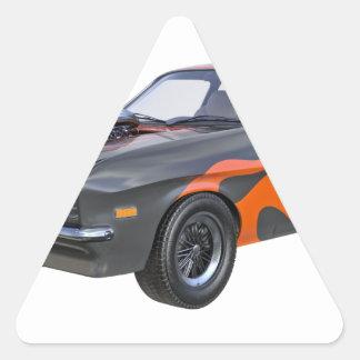 Sticker Triangulaire voiture de muscle des années 70 dans les flammes