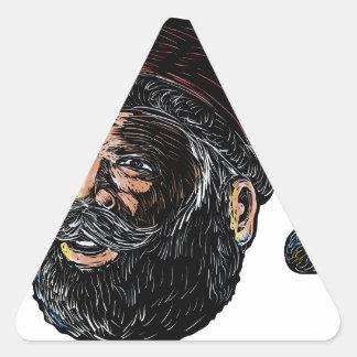 Sticker Triangulaire Vue de trois quarts Scratchboard du père noël