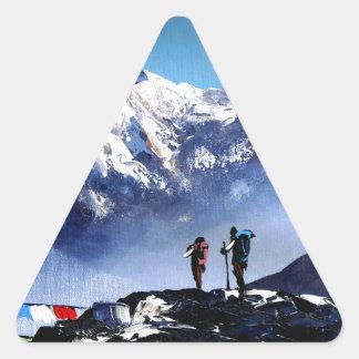 Sticker Triangulaire Vue panoramique de montagne maximale d'Ama Dablam