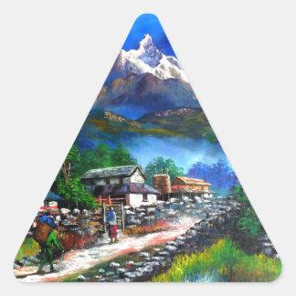 Sticker Triangulaire Vue panoramique de montagne Népal d'Everest