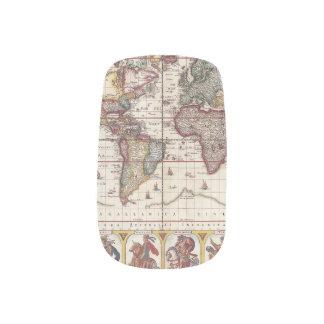 Stickers Pour Ongles 1652 carte du monde, carte du monde d'atlas de mer