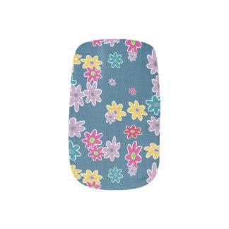 Stickers Pour Ongles Arrière - plan bleu avec le motif de fleurs coloré