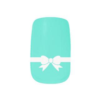 Stickers Pour Ongles Art bleu de clou d'arc de ruban du blanc d'oeuf de