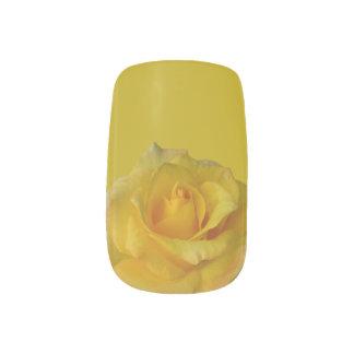 Stickers Pour Ongles Art de clou de rose jaune de décalques d'ongle de