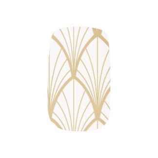 Stickers Pour Ongles art déco, beau, motif de fan, or, blanc, vintag