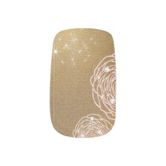 Stickers Pour Ongles Art rose de clou d'or brillant de diamant