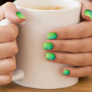 Stickers Pour Ongles Art vert et bleu de clou d'Ombre de craquement