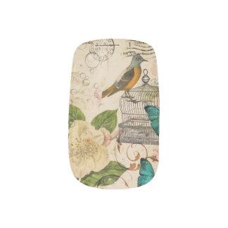 Stickers Pour Ongles camélia français botanique chic minable d'oiseau
