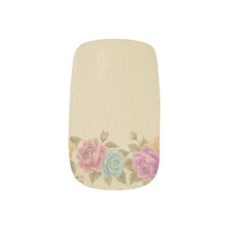 Stickers Pour Ongles chic rustique et minable, floral, roses,