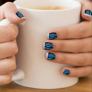 Stickers Pour Ongles Clous bleus inclinés par argent chic d'impression