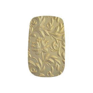 Stickers Pour Ongles cru, floral, or, élégant, chic, beau, antiquité