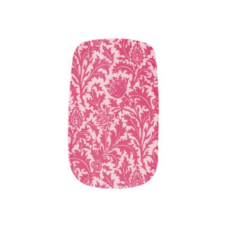 Stickers Pour Ongles Damassé de chardon de William Morris, rose de
