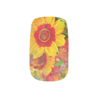 Stickers Pour Ongles Fleur bleue jaune rouge florale d'art abstrait de