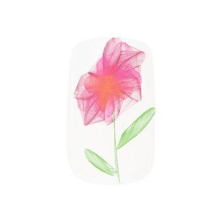 Stickers Pour Ongles Fleur minimaliste rose dessinée par crayon