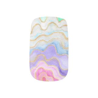 Stickers Pour Ongles Geode pour aquarelle multicolore