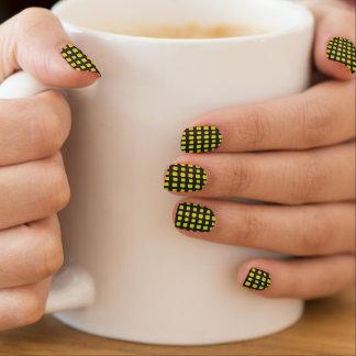 Stickers Pour Ongles Grille verte et noire au néon