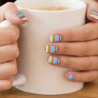 "Stickers Pour Ongles Motif ""de rayures multicolores"" de cool"