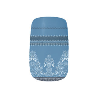 Stickers Pour Ongles Motif floral traditionnel bleu de Paisley