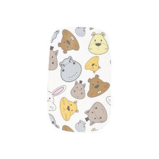 Stickers Pour Ongles Motif mignon de portrait d'animaux de bande