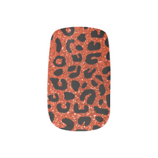 Stickers Pour Ongles Motif orange au néon d'impression de guépard
