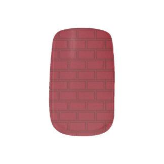Stickers Pour Ongles Motif rouge frais de mur de briques de bande