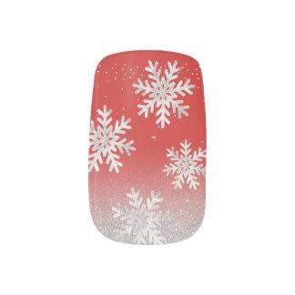 Stickers Pour Ongles Noël argenté de rouge de flocon de neige de