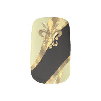 Stickers Pour Ongles Or et fleur de lys noir