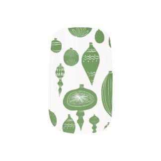 Stickers Pour Ongles Ornements verts vintages de Noël sur le blanc