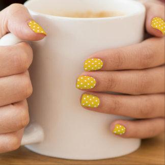 Stickers Pour Ongles Pois jaune et blanc