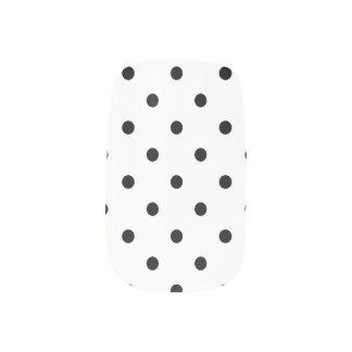 Stickers Pour Ongles Pois noir sur l'arrière - plan blanc