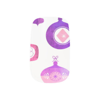 Stickers Pour Ongles Rétros ornements de Noël d'aquarelle rose