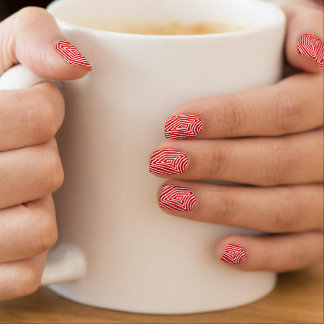 Stickers Pour Ongles Scribbleprint rouge et blanc